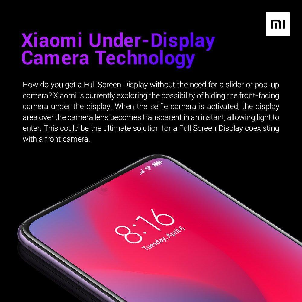Смартфон Xiaomi с камерой в экране