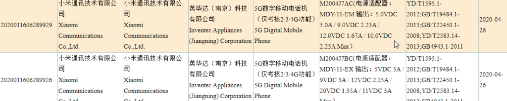 Xiaomi M2004J7AC and M2004J7BC